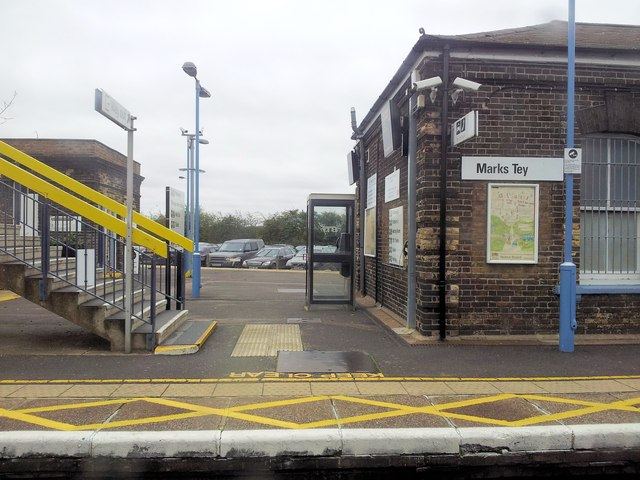 Marks Tey Rail Station with the car park beyond