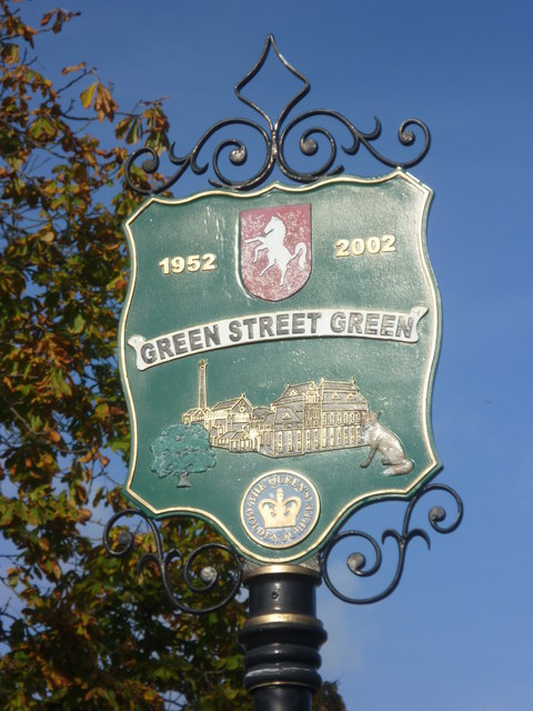 Village sign for Green Street Green