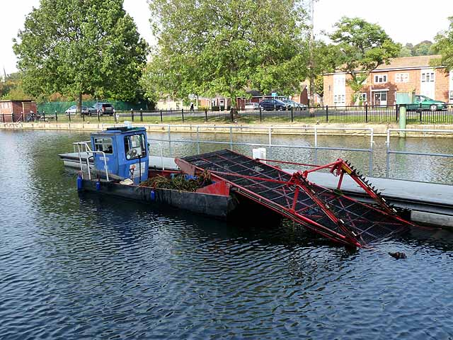 Weedcutting boat on the River Witham