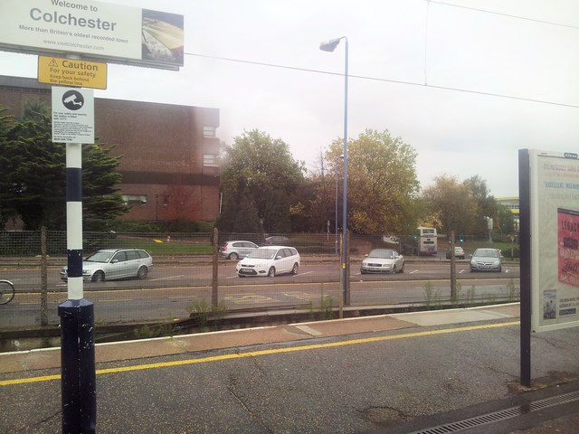 Car park and road outside Colchester Rail Station