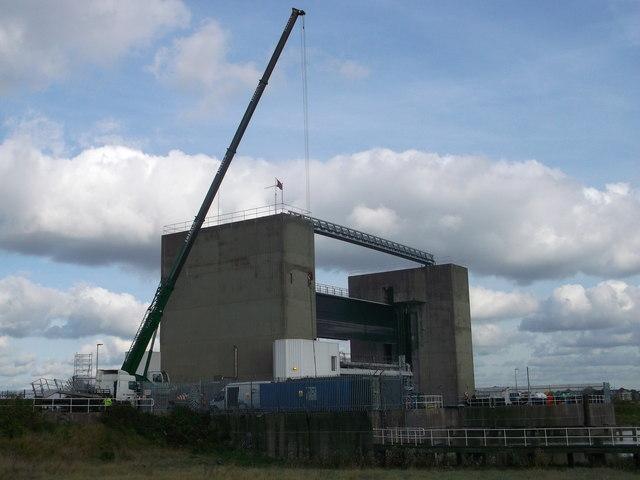Crane beside the River Darent Flood Barrier