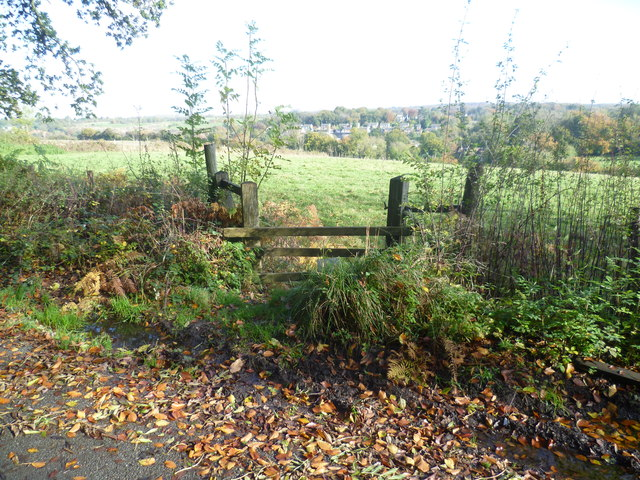 View over a stile from Charmwood Lane