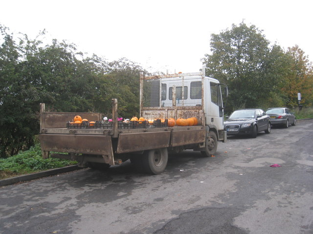 Pumpkin seller in the layby at Ducker's Holt