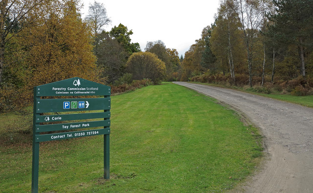 Entrance to Forestry Commission car park at Carie