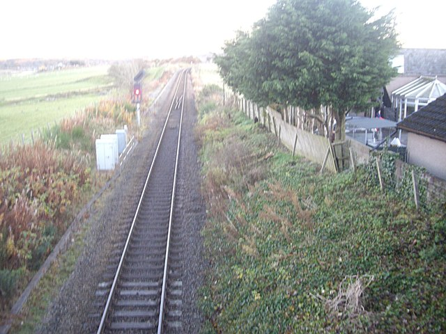 A single track stretch of railway near Dyce