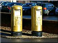 ST8499 : Gold postboxes, Old Market, Nailsworth (2) by Brian Robert Marshall
