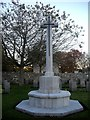 NJ8715 : Memorial cross in the Commowealth War Graves enclosure at Dyce by Stanley Howe