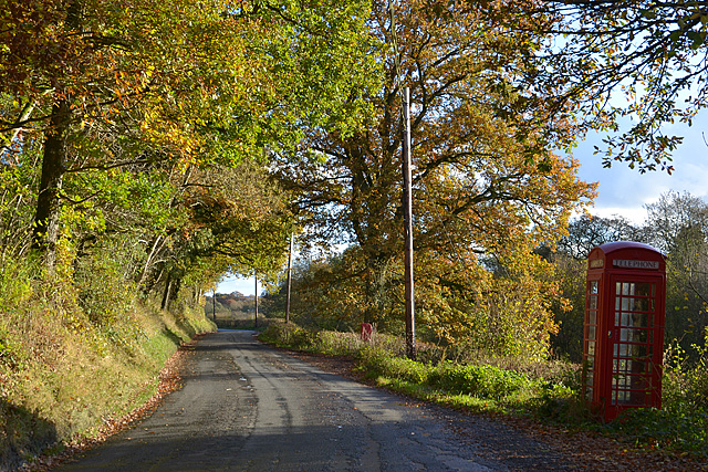 Road and telephone box, near Henfryn