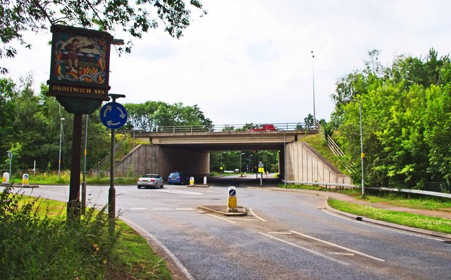 M5 motorway bridge crossing Hanbury Road, Droitwich Spa
