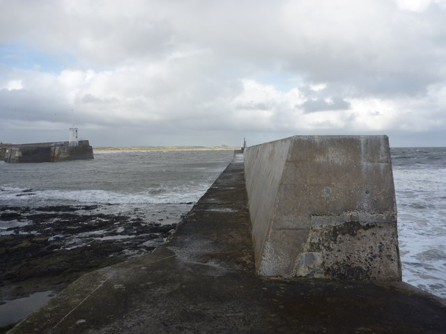 Coastal Northumberland : halfway Along The Eastern Breakwater at Seahouses Harbour
