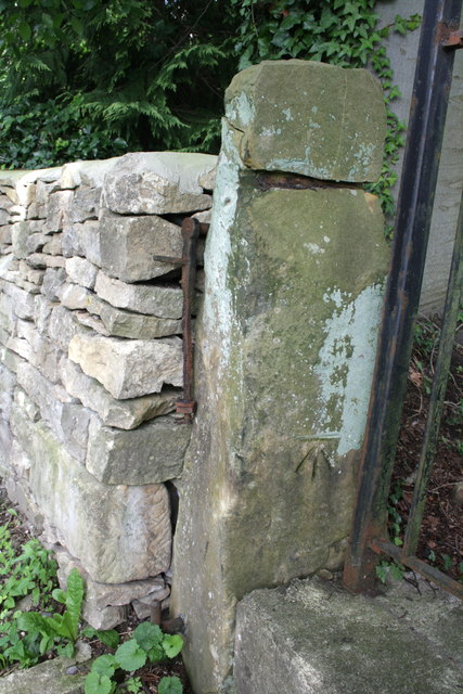 Benchmark on gatepost, Hurgill Road
