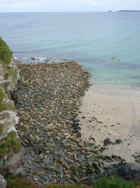 The remains of the quay at Trevaunace Cove