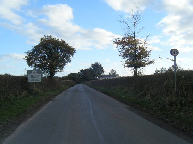 Warrington Road at Hatton village boundary sign