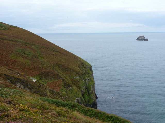 Steep cliffs on the east side of Newdowns Head