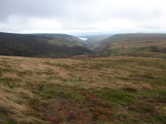 On Hebdenhigh Moor. With a view south, along the valley of Gate Up Gill, to Grimwith Reservoir