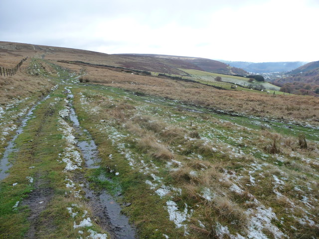 Upland track above Cwm Tyleri in autumn