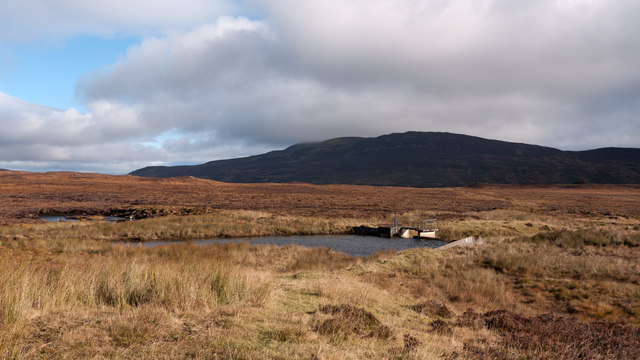 Reservoir on moorland beside Allt a' Chreagain Odhair