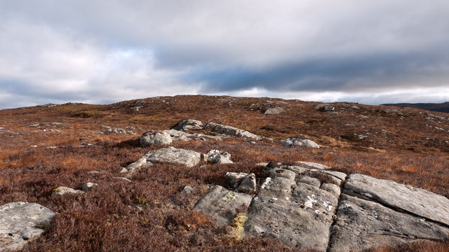Rock outcrops west of summit of Creag a' Mhadaidh
