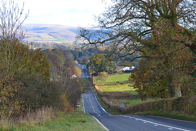 The A44 past Gwystre