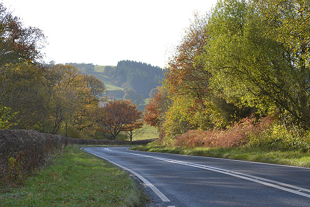 The A44 between Gwystre and Nantmel