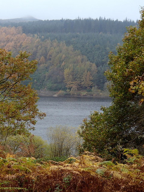 Glimpse of Ladybower Reservoir in autumn
