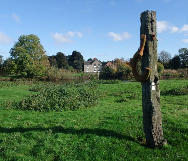 Post on the south bank of the River Trent