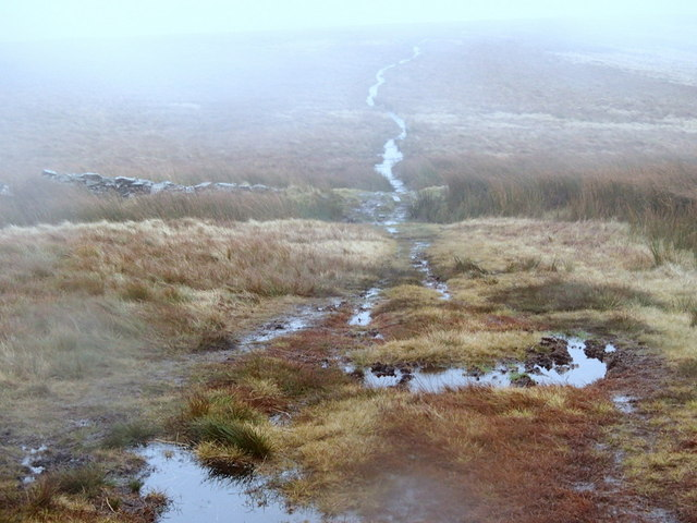Moorland path on a wet and windy day