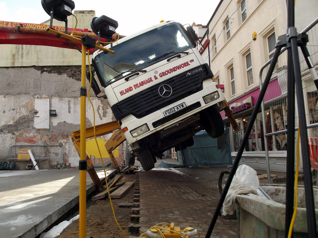 Oops! Lorry tips over in Strand Street