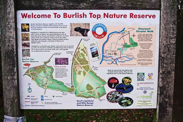 Sign at Burlish Top Nature Reserve car park, Stourport-on-Severn