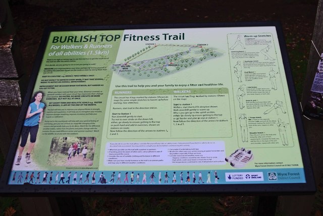 Burlish Top Fitness Trail start sign, Stourport-on-Severn