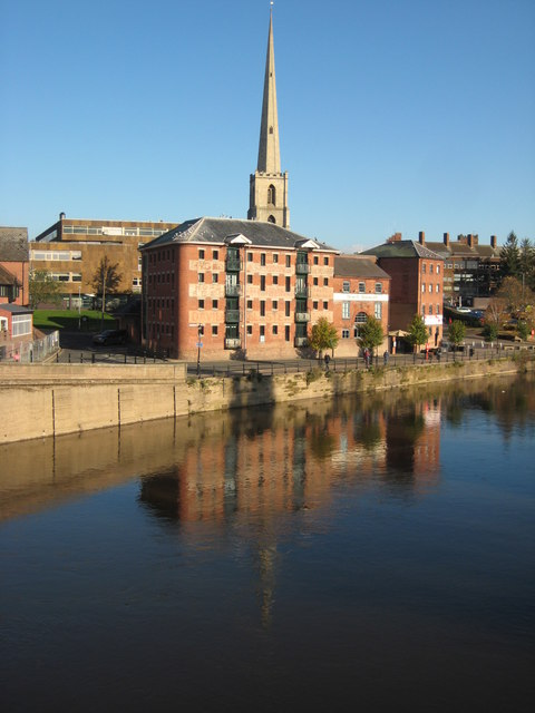 Former warehouses and St Andrew's Spire