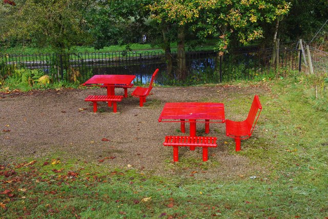 Picnic tables on Canalside Terrace, Cookley Playing Fields, Cookley