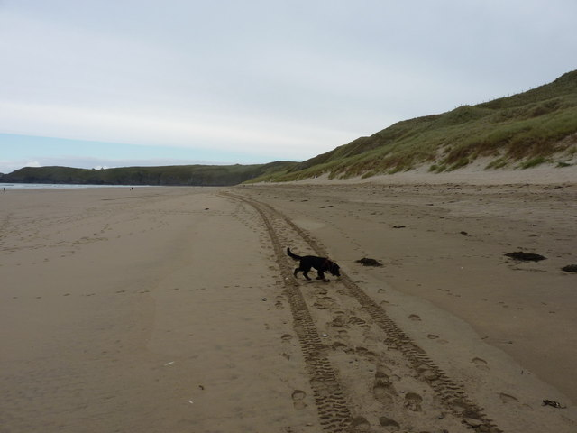 Near the high tide mark on Perran Beach