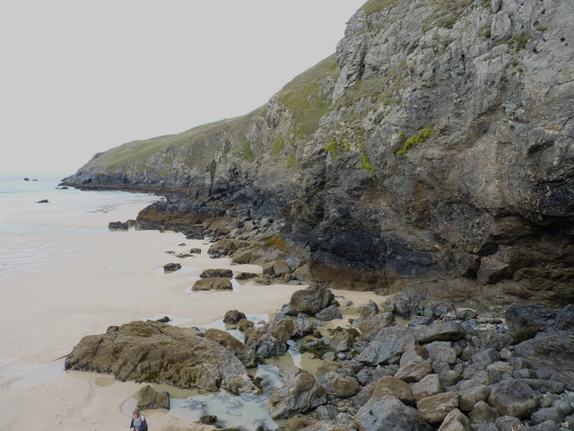 Cliffs backing the northern end of Perran Beach