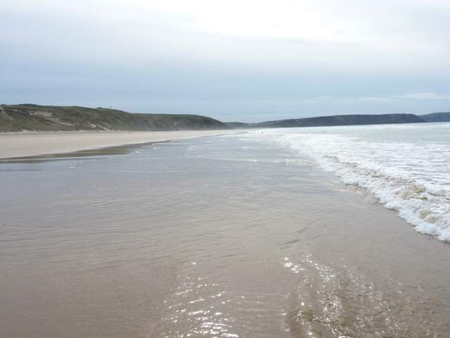Southwards on Perran Beach at low tide