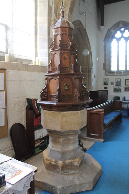 Font & cover, St Nicholas' church, Barkston