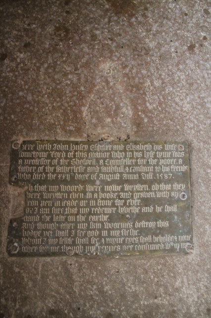 Missing Brass of John Hussey, St Wilfred's church, Honington