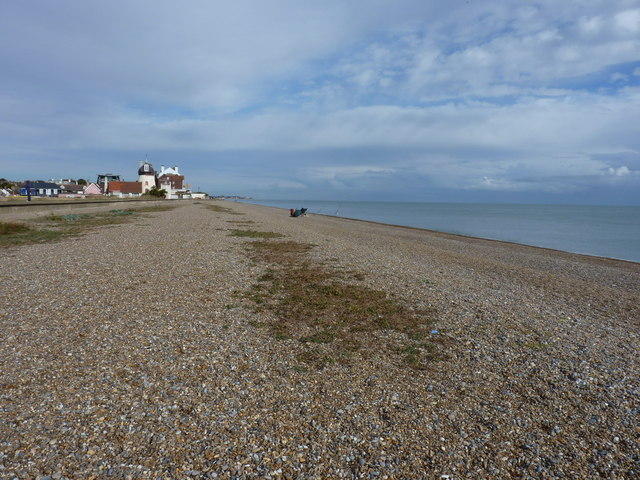 Sea anglers on the beach south of Aldeburgh