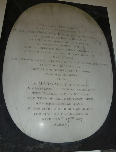 St Andrew, West Stafford: memorial (IV)