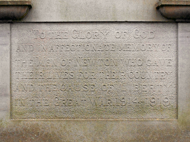 Newton War Memorial Inscription