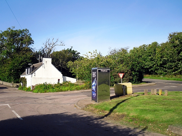 Phone box at road junction, Tayinloan