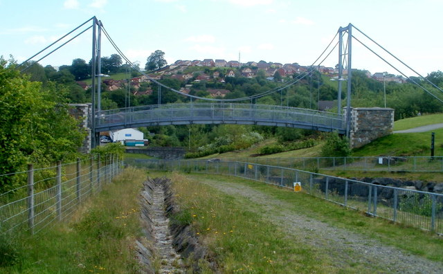 North side of the Trelewis suspension bridge