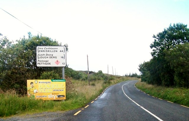 Distance sign on the R232 some 8 miles west of Pettigo