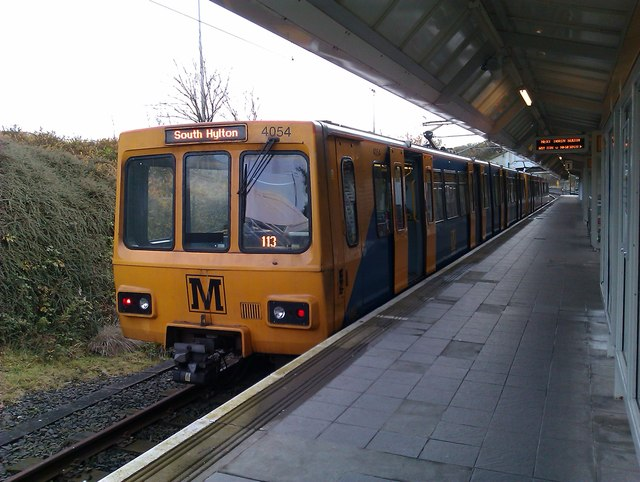 Metro train waiting at Newcastle Airport station