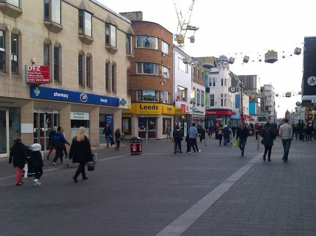 Northumberland Street, adjacent to Haymarket Metro station