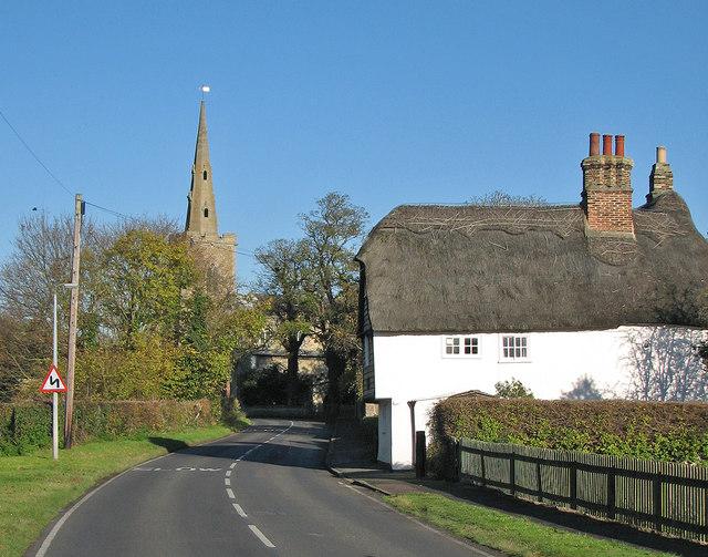 Landbeach: spire and thatch