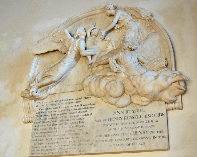 Memorial to Ann Russell, All Saints' church, Lydd
