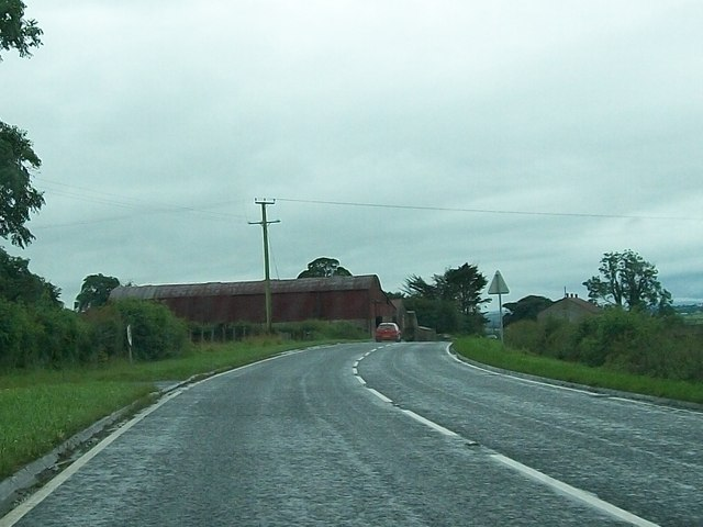 Farm buildings alongside the A5 between Magheramason and Bready