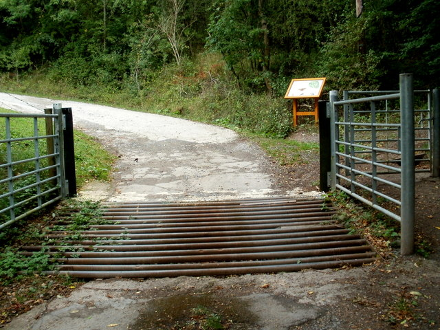 Cattle grid and information board at the southern entrance to Ewyas Harold Common