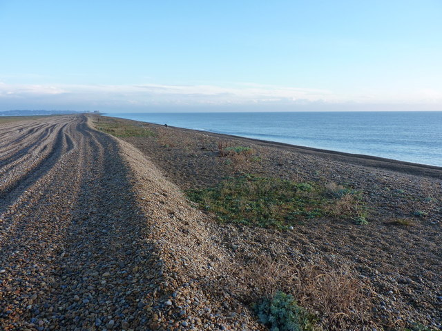 Shingle beach and track on Orford Ness